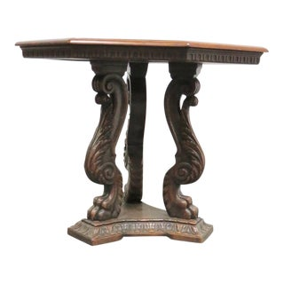 Italian Style Walnut Carved Center Table For Sale