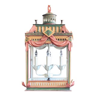Square Polychrome Lantern Chandelier
