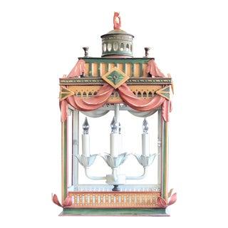 Square Polychrome Lantern Chandelier