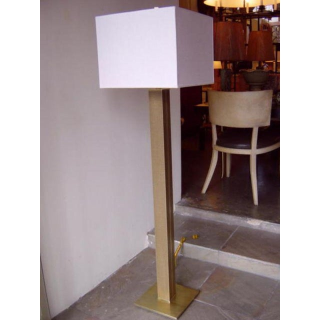 Karl Springer mid-century linen-covered brass floor lamp, for Karl Springer (manufactured by Beekman Hill Lampcrafters inc...