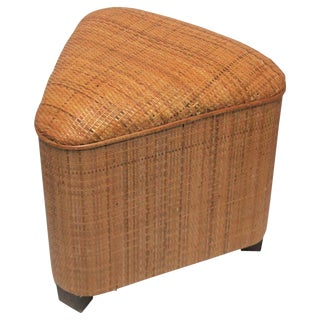 Triangle Wicker Bench or Stool For Sale