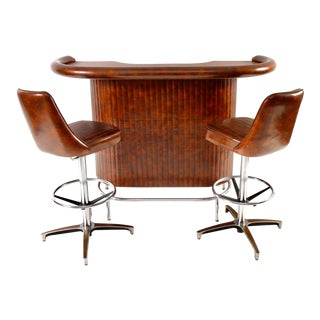 Mid-Century Modern Chromcraft Bar / Barstool Set - Set of 3 For Sale
