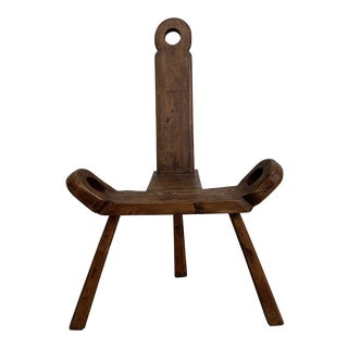 Early 20th Century Handmade Primitive Birthing Stool For Sale