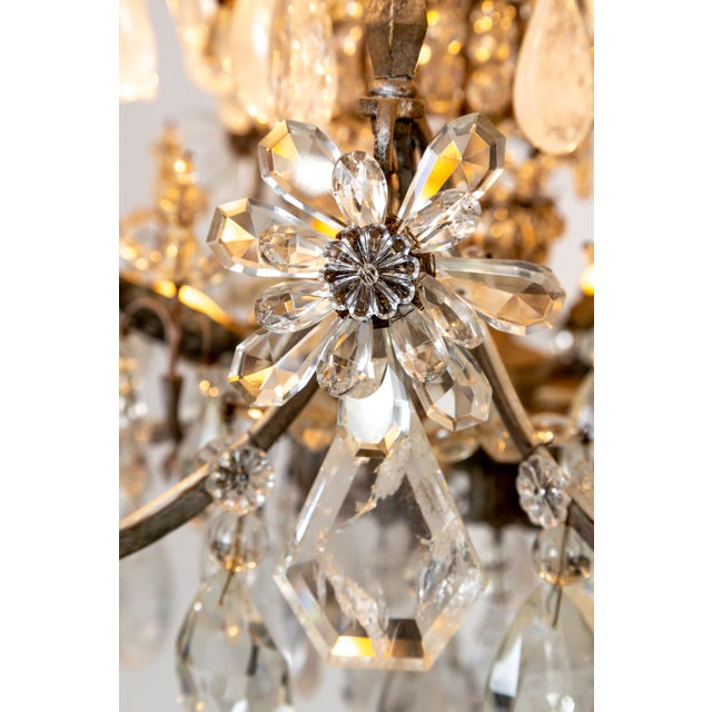 Rare Large Silver Gilt Bronze Rock Crystal Flower Bouquet 20-Light Chandelier For Sale - Image 9 of 13