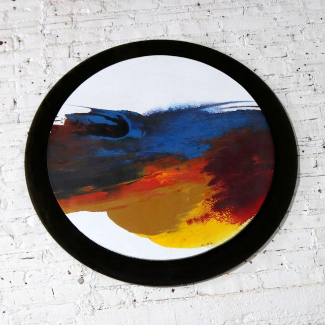 Abstract Round Acrylic Canvas Painting Mounted on Smoke Plexiglass by Ted R. Lownik For Sale - Image 4 of 13