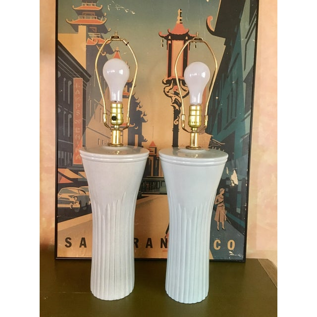 Art Deco Shades of Sea Foam Lamps - A Pair - Image 8 of 8