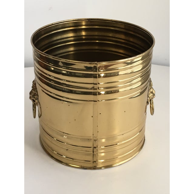 Brass Lion Head Brass Planter, Made in England For Sale - Image 7 of 11