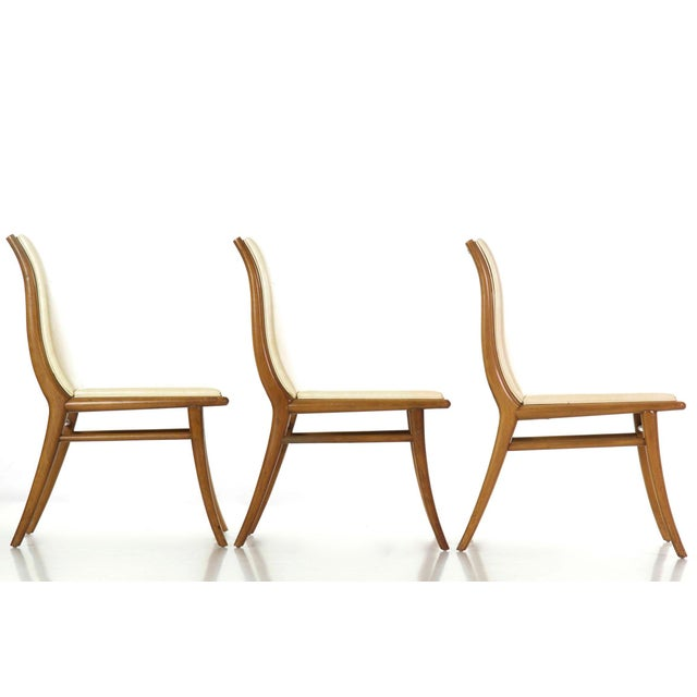 t.h. Robsjohn-Gibbings for Widdicomb Walnut Dining Table W/ Six Chairs Circa 1957 For Sale - Image 9 of 13