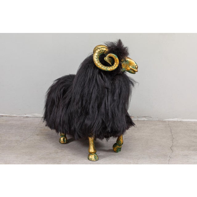 Folk Art Bronze and Fur Sheep Sculptures - Individual For Sale - Image 3 of 11