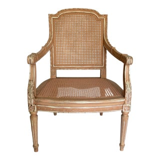 Early 20th Century Antique Carved and Painted French Fauteuil For Sale
