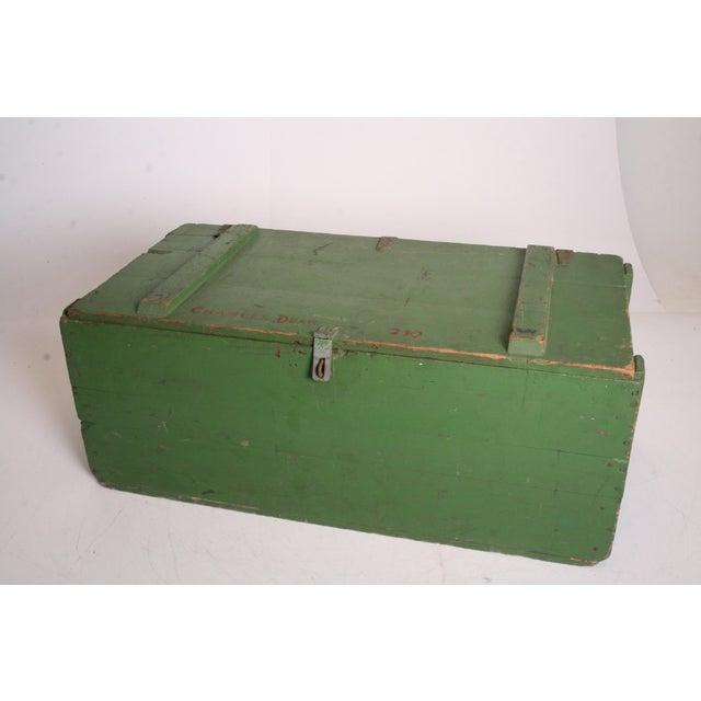 Vintage Military Green Wood Foot Locker - Image 2 of 11