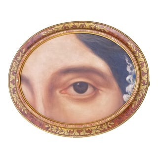 Vintage Oil Portrait Victorian Lovers Eye Pin For Sale