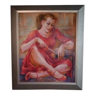 "Circa 1940s ""Drummer Girl"" Figurative Oil Painting by Burr Singer, Framed For Sale"