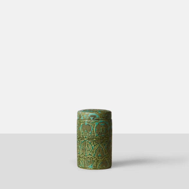 Mid-Century Modern Nils Thorsson ceramic jar with lid For Sale - Image 3 of 6