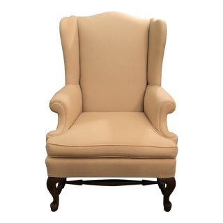 Traditional Upholstered Wing Back Chair For Sale