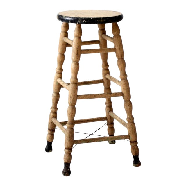 Antique Turned Leg Stool For Sale