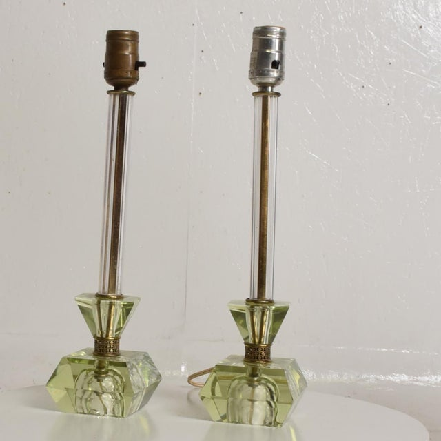 Hollywood Regency Era Crystal Table Lamps With Light Green Color Set of 2 For Sale - Image 4 of 11