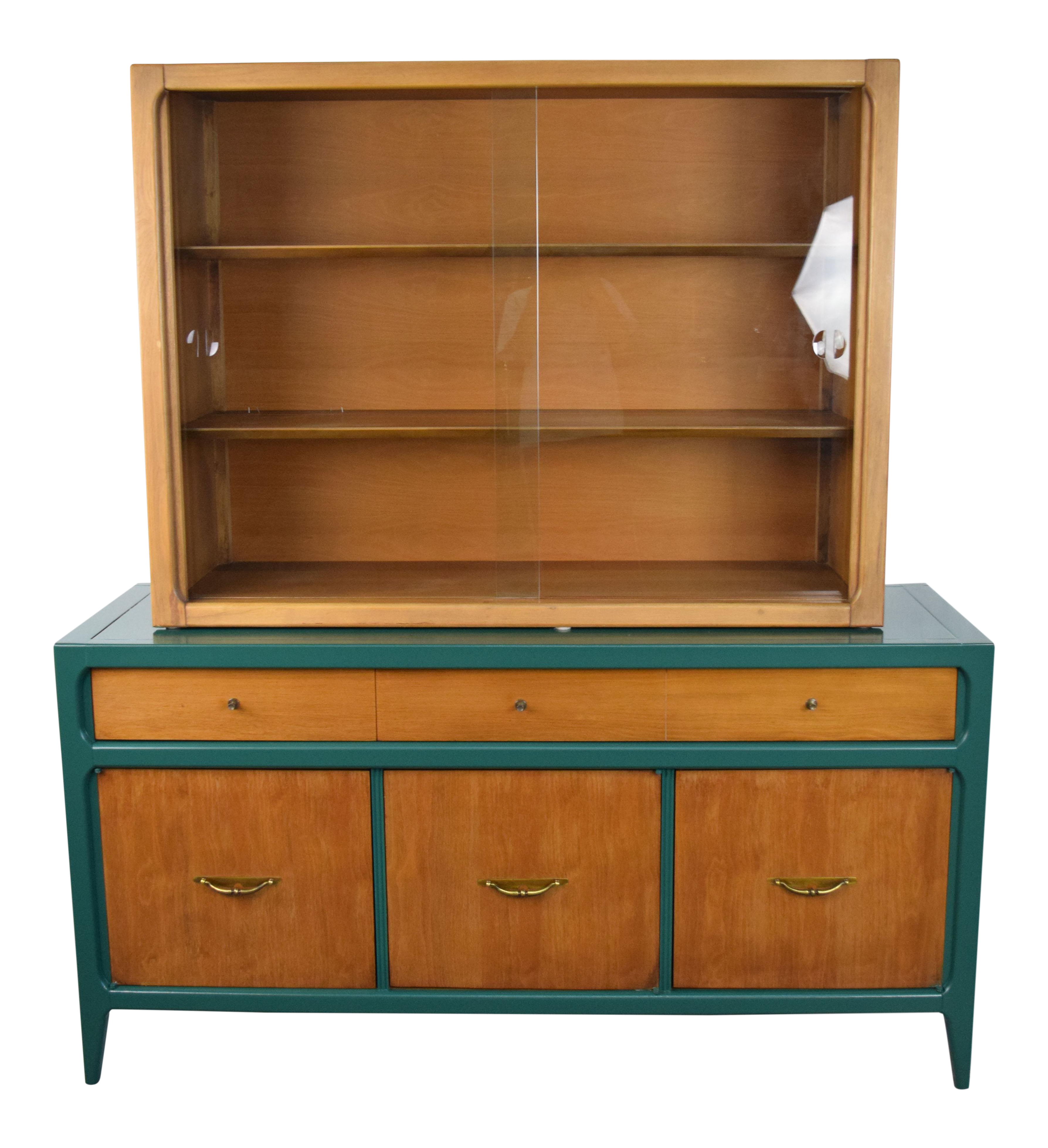1960 Mid Century Modern Lane Furniture Green High Gloss Lacquer China  Cabinet For Sale