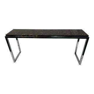 Modern Chrome and Marble Console Table For Sale