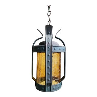 Antique Art & Craft Copper & Amber Glass Lantern For Sale