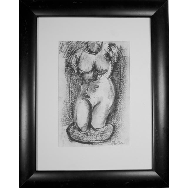 Hellenistic Statue Charcoal Drawing - Image 1 of 5