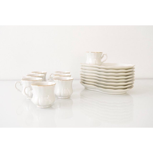 Vintage White with Gold Trim Plate & Cup Snack Set - Set of 16 For Sale - Image 4 of 6