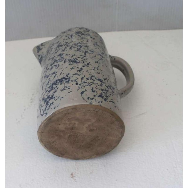 Blue 19th Century Spongeware Pottery Speckled Pitcher For Sale - Image 8 of 8