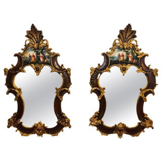 Pair of Rococo Mahogany Gilt Decorated Carved Wall / Pier or Console Mirrors For Sale
