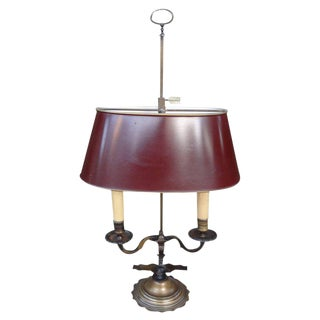 19th Century French Neoclassical Style Bronze Bouillotte Lamp With Tole Shade For Sale