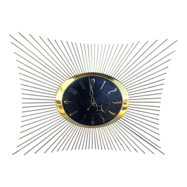 1950s General Electric Sunburst Wall Clock For Sale