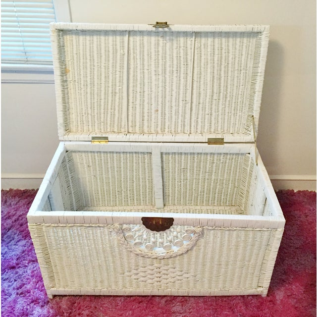 Vintage White Wicker Trunk With Brass Hardware - Image 3 of 5