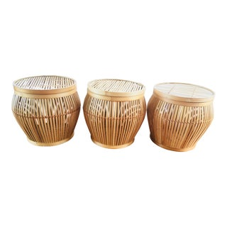 Asian Inspired Bamboo Baskets - Set of 3 For Sale