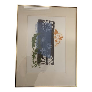 "Late 20th Century Woodcut Art ""Summer Blue"" Painting Signed & Numbered by Barbara Thomson For Sale"