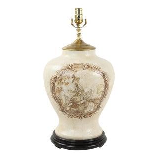 Vintage White Crackle Glaze Temple Jar Lamp For Sale