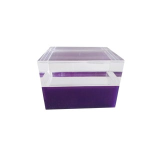1970s Vintage Alessandro Albrizzi Style Purple Clear Lucite Box For Sale