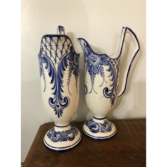 Rustic European 1960s Rccl Pottery Vases Handpainted From Portugal - a Pair For Sale - Image 3 of 7