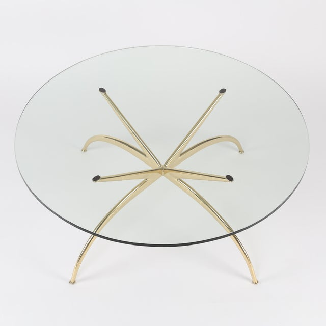 Hollywood Regency 1950's VINTAGE ITALIAN BRASS COFFEE TABLE For Sale - Image 3 of 10