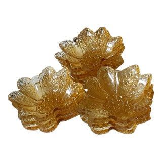 Art Deco Amber Fancy Depression Glass Dessert Bowls - Set of 9 For Sale