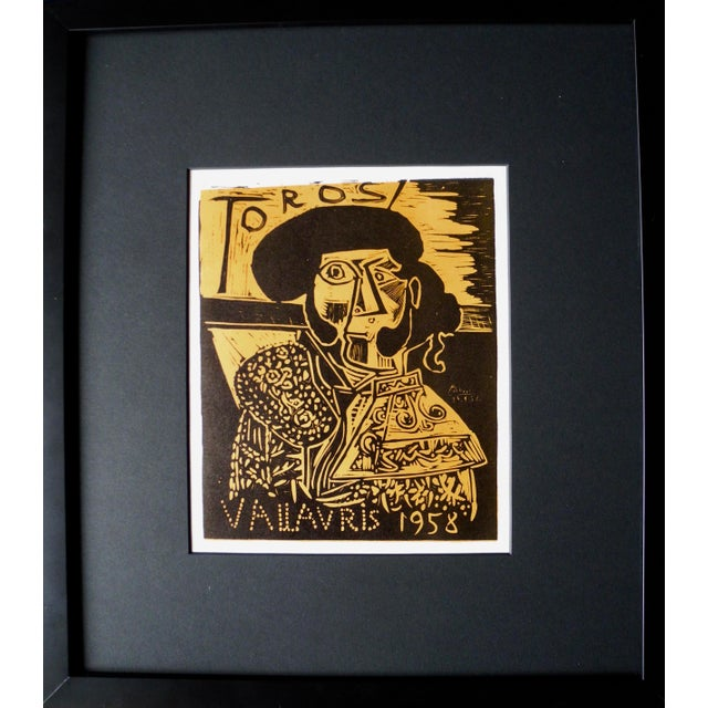 Pablo Picasso Mid-Century Expressionist Lithograph of a Woodcut by Pablo Picasso for Vallauris, 1958 For Sale - Image 4 of 9