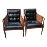 Image of 1970s Leather Hickory Chairs-a Pair For Sale