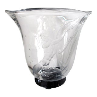 Good Quality Swedish Art Deco Etched Glass Vase by S. Gate For Sale