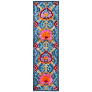 "Suzani Hand Knotted Runner - 3'1"" X 10'9"" For Sale"