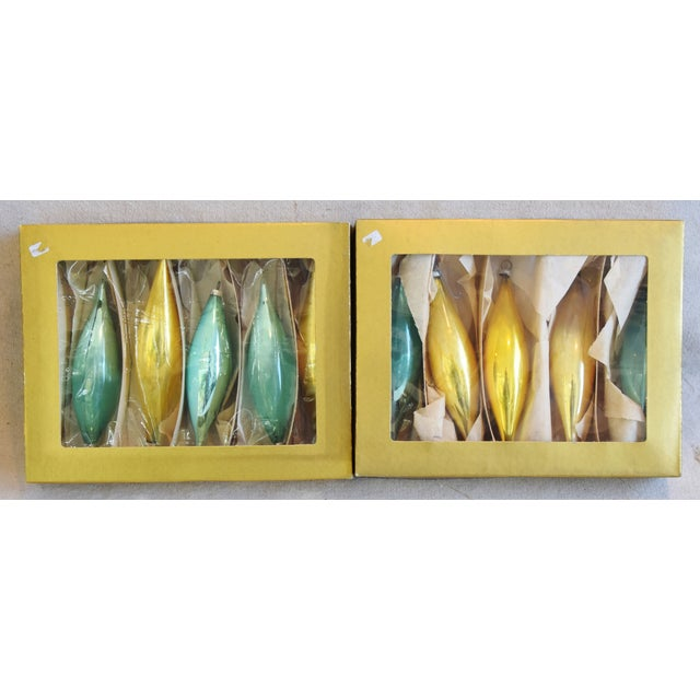 """Set of 10 vintage hand-decorated glass Christmas tree ornaments with boxes. No maker's mark. Ornaments, 1.5""""Dia x 5.5""""H;..."""