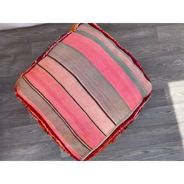 1980s Vintage Moroccan Pouf Cover For Sale - Image 6 of 10