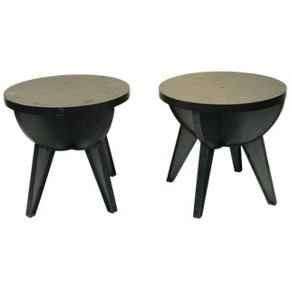 Industrial Design Cast Iron and Steel End Tables For Sale
