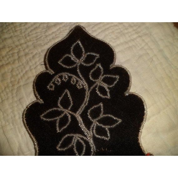 Victorian Gothic Black Beaded Wall Pocket Black Velvet with red interior and backing. There is a small place (shown in...