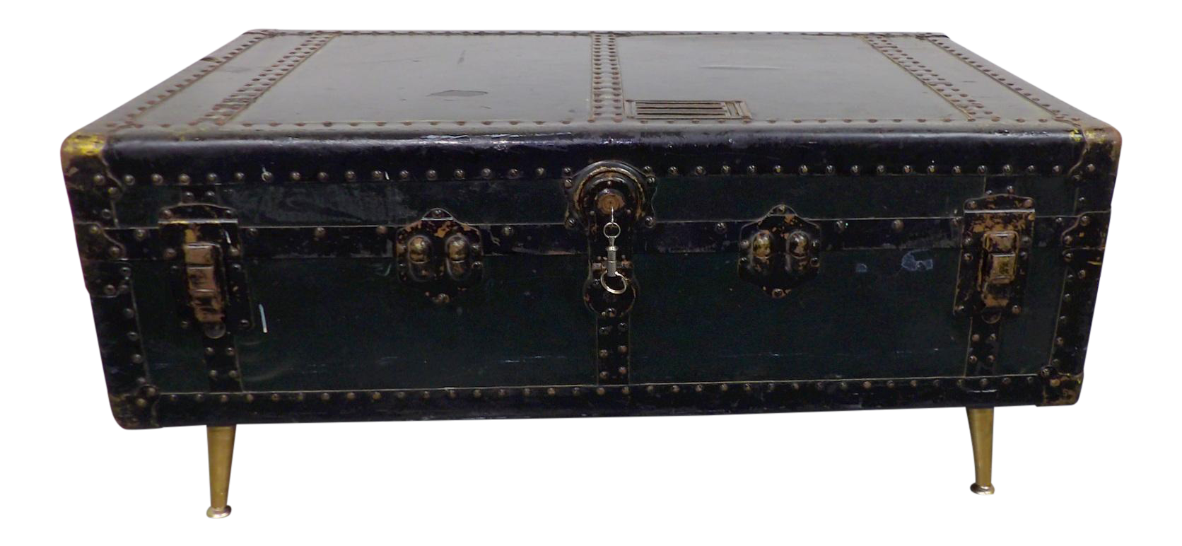Antique Green Metal Steamer Trunk Coffee Table
