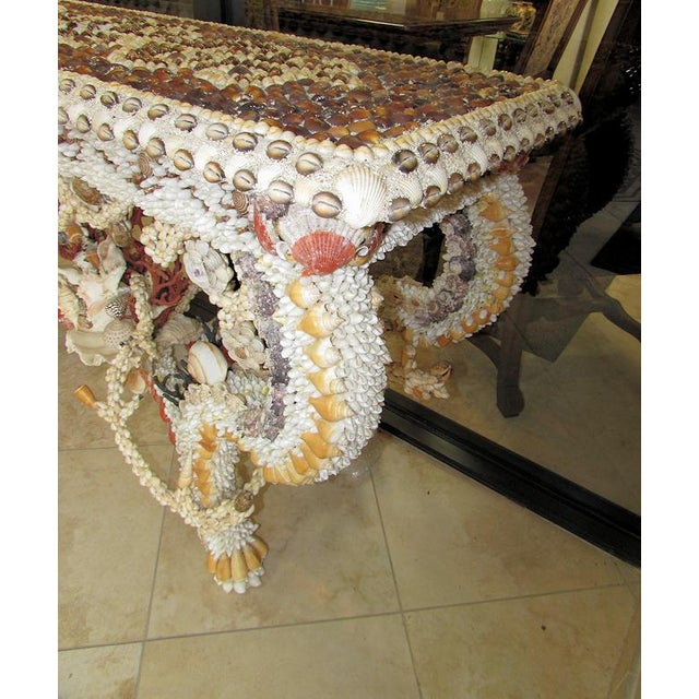 French Louis XV Seashell Encrusted Console Table For Sale - Image 4 of 12