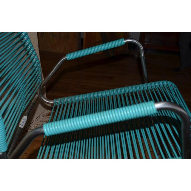 Patio Furniture by Surf Line, 2 Lounge Chairs, 1 Chaise in Stainless and Aqua For Sale In Madison - Image 6 of 13