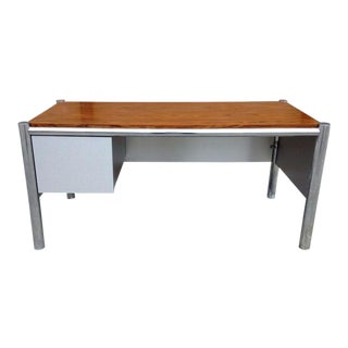 Cool 1970's Space Age Mod Tubular Chrome Office Desk W Rosewood Top For Sale